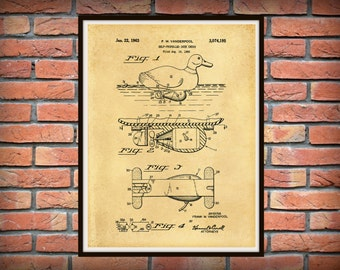 Patent 1960 Duck Decoy Patent - Self Propelled Duck Decoy - Art Print - Hunting Poster- Man Cave Art - Hunt Camp Wall Art - Cabin Art