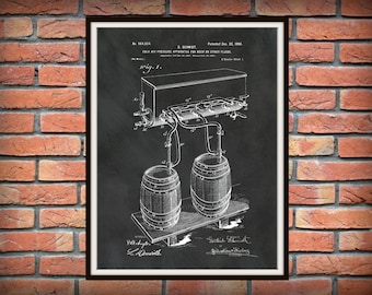 1900 Beer Barrel Patent Print - Cold Air Pressure System Beer Process - Sports Bar Decor - Microbrewery Decor - Beer Brewer Gift Idea