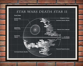 Star Wars Death Star II Patent Art Print Wall Poster - Engineering Drawing - Schematic Drawing - Return of the Jedi