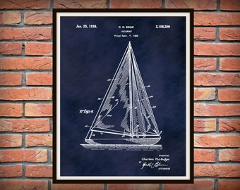 1935 Sailboat Patent Print - Nautical Poster - Vintage Sailboat Print - Marina Decor - Sailor Gift Idea - Boater Gift Idea