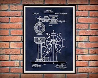 1920 Ship Navigation Patent Print Apparatus Art Print - Poster - Nautical Decor - Naval Wall Art - Ship Wheel Patent Print - Helm Wheel