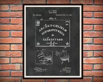 Patent 1891 Ouija Board - Art Print - Game Room Art - Victorian Parlor Game - Spirit Board - Paranormal Art -Talking Board