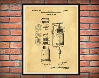 1940 Blood Transfusion Apparatus Patent Print - Medical Poster - Doctors Office Decor - Physician Office Decor - Surgeon Gift Idea
