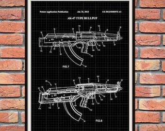 AK-47 Patent Print - Bull-Pup Assault Rifle Patent Print - Rifle Poster - Firearm -Military Weapon - Machine Gun - Wall Art - NRA Decor