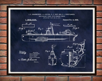 1920 Unsinkable Ship Battle Ship Patent Print - Art Print - Nautical Art - Military Ship Art - Aircraft Carrier - Naval Ship - Navy Wall Art