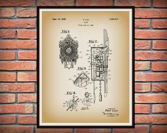 Patent 1936 Cuckoo Clock - Ornate Wall Clock - Art Print - Poster - Wall Art - Gingerbread Clock - Grandmothers Clock - Clock Maker Art