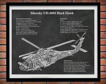 UH-60M Black Hawk Helicopter Print, Sikorsky UH-60M Helicopter Blueprint, Military Helicopter Pilot Gift, Sikorsky UH-60M Cutaway Drawing
