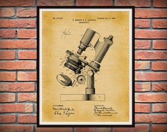 1899 Microscope Patent Print - Bausch Medical Poster - Hospital Decor - Medical Research Decor - Microbiology - Scientist Gift Idea