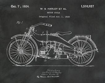 1919 Harley Motorcycle Patent Print - Harley Poster - Wall Art - Harley Davidson Motorcycle - Motor Bike -Hells Angels - Man Cave Decor