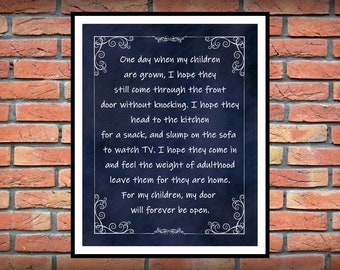 One Day When My Children Are Grown Poster - Inspirational Home Decor -  From The Heart Inspiration - Childs Room Decor - Christmas Gift Idea