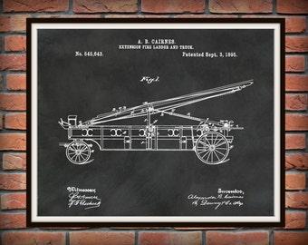 1895 Fire Truck Extension Ladder Patent Print - Poster - Firehouse Decor - Firefighter Gift Idea - Fire Rescue Art - Fire Truck Equipment