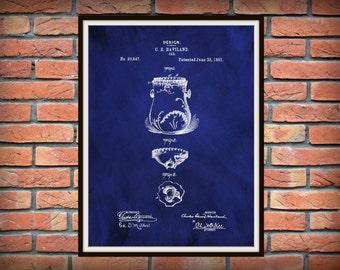 Patent 1891 Haviland Limoges Jar Design Patent Art Print Poster Limoges France Wall Decor Kitchen Item