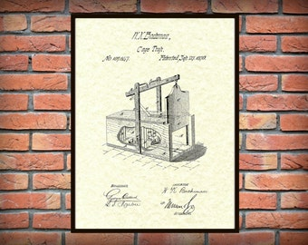 Patent 1870 Mouse Trap Cage Trap Exterminator Wall Art - Poster Print - Wall Art - Rodent Trap - Varmint Trap - Rat Trap