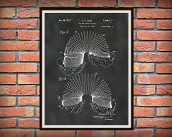 1947 Slinky Patent Print Vers #1- Slinky Patent Poster - Game Room Decor - Childs Room Decor - Steel Spring Toy - Slinky Invention Art Print
