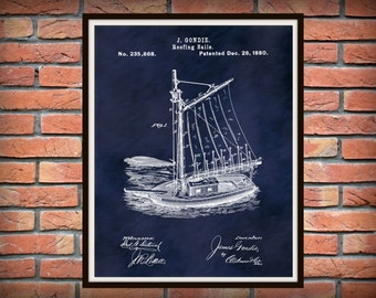 1880 Sailboat Patent Print - Reefing Sails - Nautical Poster - Sailing Ship Patent Print - Schooner - Clippership - Nautical Theme Decor