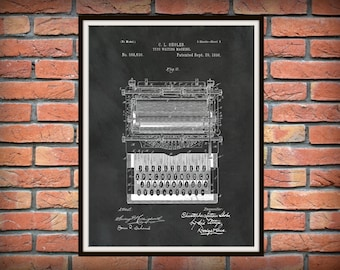 Patent 1896 Typewriter British non-QWERTY Typing Machine - Poster - Secretary Wall Art - Office Wall Art - Stenographer Art - Transcription