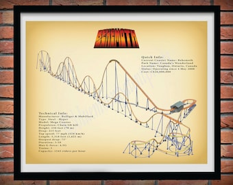 Behemoth Roller Coaster Drawing Vers #2 Colored, Behemoth Roller Coaster Poster, Canada's Wonderland Roller Coaster, Thrill Rider Gift Idea