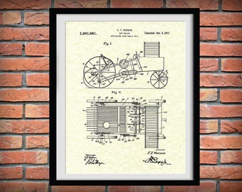 1917 Hay Baler Patent Print - Agriculture Wall Art - Tractor - Farming - Farm Equipment Patent Print - Farmhouse Decor