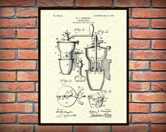 Patent 1905 Coffee Mill - Coffee Grinder - Wall Art Print - Kitchen Art- Poster - Restaurant Wall Art - Coffee Shop Wall Art