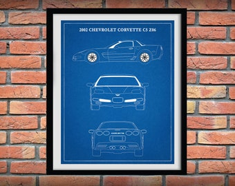 2002 Corvette C5 Z06 Art Print - Chevy Corvette C5-Z06 2001- 2004 - Corvette Sports Car Poster - Corvette Collector - Corvette C5
