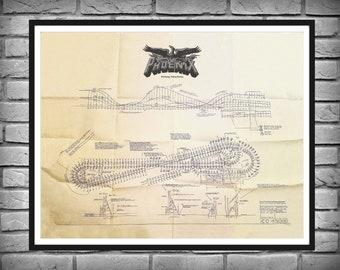 Phoenix Roller Coaster Blueprint - Knoebels Park Elysburg, PA - Wooden Roller Coaster - The Rocket Roller Coaster Parkland, San Antonio, TX
