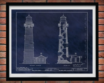 Pigeon Point Lighthouse Drawing - Pigeon Point Lighthouse Blueprint - Nautical Decor - Lighthouse Lover Gift Idea