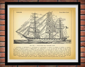 1913 Three Mast Sailing Ship, Voilure Trois-Mats Carre, Nautical Poster, Artist Alexander Brun, Old Ship Diagram, Tall Ship Print