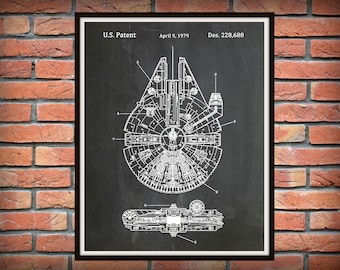 Star Wars Millennium Falcon Patent Print - Star Wars Poster - Han Solo Millennium Falcon - Geek Art - Star Wars Collector Gift Idea