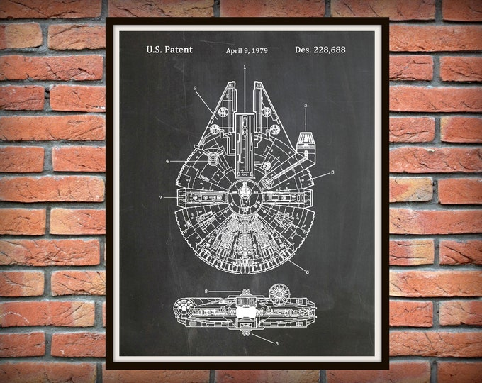 Featured listing image: Star Wars Millennium Falcon Patent Print - Star Wars Poster - Han Solo Millenium Falcon - Geek Art - Star Wars Collector Gift Idea