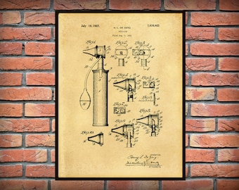 Patent 1922 Otoscope Patent Art Print - Poster - Medical - Doctors Office - Otologist - ENT Doctor Office Wall Art - Ear Exam Tool