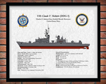 USS Claude V. Ricketts DDG-5 Destroyer Drawing, Charles F. Adams-Class Destroyer Drawing, Adams Class Destroyer Blueprint, US Navy Art Print