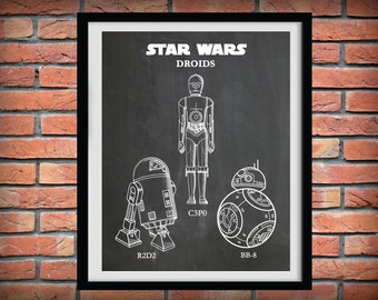 Star Wars Droids Blueprint - R2D2 Blueprint Poster- C3P0 Blueprint Poster - BB-8 Blueprint Poster - Star Wars Collector - Star Wars Decor