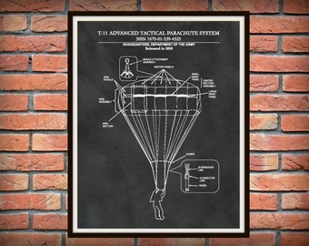T-11 Parachute Drawing - US Military Parachute Blueprint - Soldier Wall Art - Paratrooper Wall Art - Army Airborne Assault - Airborne Decor