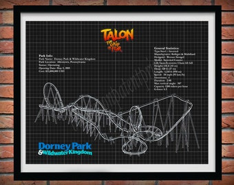 Talon The Grip of Fear Roller Coaster Drawing, Dorney Park Roller Coaster Art Print, Grip of Fear Roller Coaster Blueprint,Coaster Geek Gift