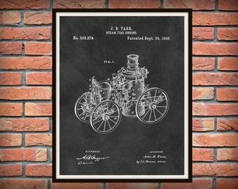 Patent 1896 Steam Fire Engine - Art Print - Poster - Wall Art - Fire House Art - Fire Fighter - Fire Department Art - Fire Truck