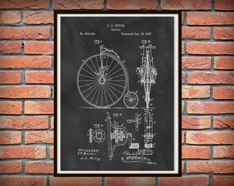 Patent 1887 High Wheel Bicycle - Print Poster Wall Art Bike Drawing Illustration - Home - Office Decor - Velocipede