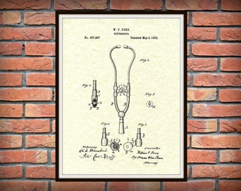 1882 Ford Stethoscope Patent Print - Doctor's Office Poster - Physician Gift - Medical Decor  - EMT - Nurse Gift Idea -Stethoscope Art Print