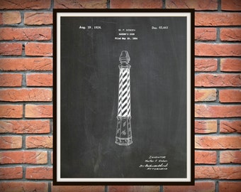 Patent 1924 Barber Pole - Barber Sign - Art Print - Poster - Barber Shop Art
