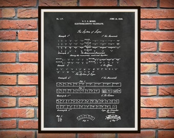 Patent 1848 Morse Code Electromagnetic Telegraph - Art Print - Morse Alphabet Code Telegraph - Railroad Communication