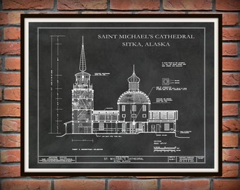 Saint Michael's Cathedral - Sitka Alaska - Design Drawing - Illustration - Wall Art - National Historic Landmark - Russian Orthodox Church