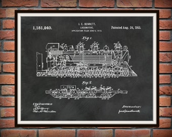 1915 Locomotive Patent by Bennett Art Print - Train Patent - Poster - Wall Art - Railroad Art - Railway Station Art - Train Station Wall Art