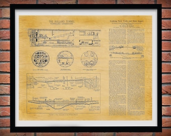 Holland Tunnel Blueprint - Holland Tunnel Poster - Canal Street Tunnel Blueprint - Historic Holland Tunnel Wall Art - NYC Manhattan Tunnel