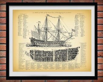 1728 British War Ship Drawing - A Ship of War of the Third Rate - 1728 British War Ship Drawing - Nautical Wall Art - Nautical Decor -