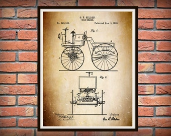 1895 Automobile Patent Print - 1st US Automobile Patent Invented by George Selden - Controversial Auto Patent Contested by Henry Ford-