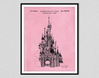 Disney Castle Patent Print, Sleeping Beauty Castle Blueprint, Nursery Wall Art Decor, Disneyland Paris, girls room wall art,