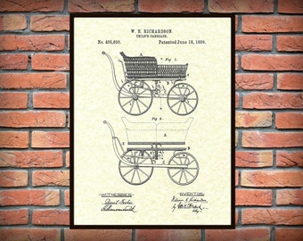 1889 Baby Carriage Patent Print - Baby Carriage Poster - Nursery Decor - Childrens Room Decor - Baby Shower Gift Idea - New Born Baby Gift