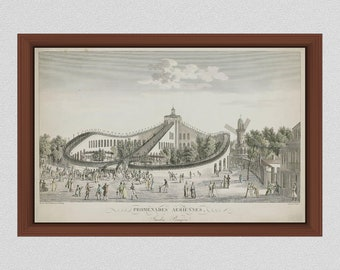 1817 Promenades-Aériennes Roller Coaster Drawing, World's First Roller Coaster, The Aerial Walk Roller Coaster Print Paris France