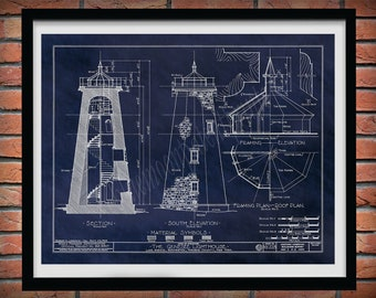 Charlotte–Genesee Lighthouse Drawing, Rochester NY Lighthouse Poster, Genesee Lighthouse Lake Ontario Lighthouse Blueprint, Nautical Decor,