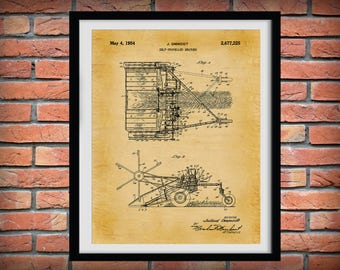1954 Swather Patent Print - Wind Row Patent Print - Agriculture Wall Art - Tractor - Farming - Farm Equipment Patent - Farmhouse Decor