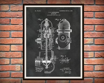 1903 Fire Hydrant Patent Print - Fire Hydrant Poster - Firehouse Decor - Firefighter Gift - Fire Hydrant Invention - Fire Hydrant Blueprint